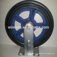 "8"" 10"" metal cast iron rubber wheel caster"