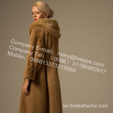 Kvinnor Reversible Winter Mink Fur Overcoat Mink