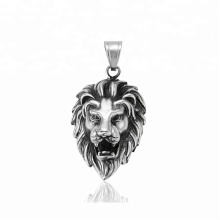 33383 xuping fashion black gun color Stainless Steel jewelry lion head cross pendant