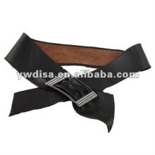 Wide Ribbon Leather Belt For Woman With Rhinestones Buckle