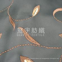 Tecido sintético de couro PU bordado para estofados