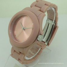Relógio luxuoso feito sob encomenda impermeável do silicone da forma para a senhora
