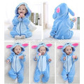 Bébé doux flanelle barboteuse Animal Onesie pyjamas tenues costume, vêtements de couchage, tissu bleu mignon, serviette à capuchon de bébé