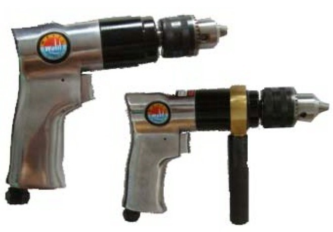 Reversible pneumatic hand drill