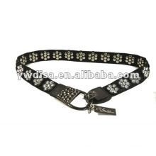 women's PU belt with black elastic, clear rhinestones, alloy accessories with gun-metal