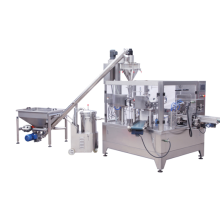 Rotary packing machine with multi-head weigher