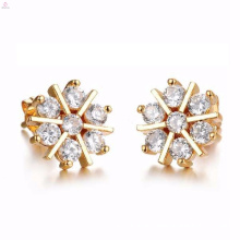 wholesale costume rose flower cut dubai 24k gold diamond stud earrings jewellery