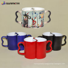 hot water heat sensitive coating ceramic color changing magic couple mug
