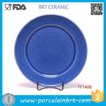 Venta al por mayor Simple Circle Shape Navy Ceramic Plate