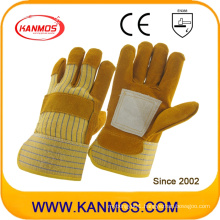 Brown Cowhide Split Leather Industrial Safety Work Gloves (11018)