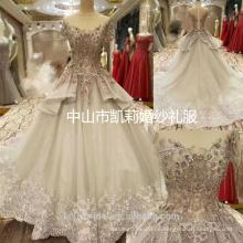 2017 Luxus Dubai schwere Blume, die kurzes Hülsenprinzessin-Hochzeitskleid bördelt