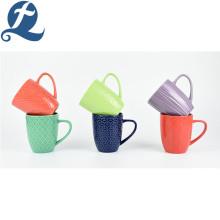 wholesale price colorful relief ceramic tea cup