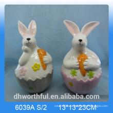 Estatuilla de conejo de cerámica encantadora, decoración de conejo de cerámica, para el día de Pascua