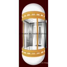 Elevador panorámico de la cápsula con la luz colorida