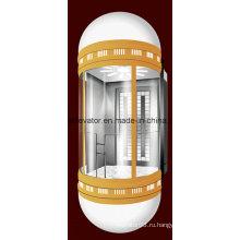 Капсульный панорамный лифт с красочным освещением