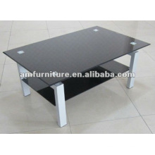 журнальный столик с черной блестящей окрашенной стеклянной столешницей и полкой+покрынный порошок пробки