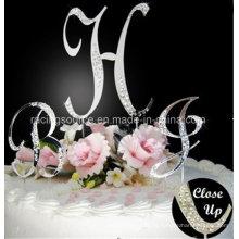 Topper francés de la torta de boda de la letra inicial del Rhinestone de la fuente para la boda