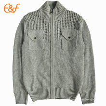 Mens Grey Knitted Cardigan Sweater Jacket With Pockets On The Breast