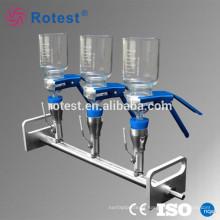 Distribuidores de suporte de filtro solvente de vidro de três ramos