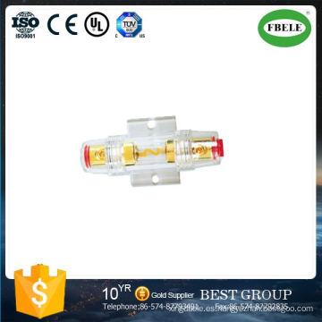 Fusible automático para 4ga u 8ga Utilice un fusible 5AG Carcasa transparente a prueba de agua de 24 quilates. Golg plateado