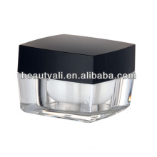 5g 15g 30g 50g 100g Square Acrylic Cosmetic Jar With Black Cap