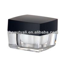 5g 15g 30g 50g 100g Praça frasco de vidro acrílico com tampa preta
