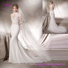 Elegante vestido de novia de sirena Guipure Bodice con cuello halter