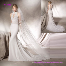 Elegant Guipure Bodice Mermaid Wedding Dress with Halter Neck