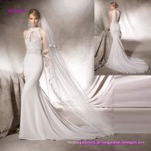 Elegante Guipure Corpete Sereia Vestido de Noiva com Halter Neck