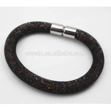 Black chapeado aço inoxidável 316L imã de cristal stardust pulseira de malha