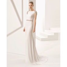 Crystal Back Cap Sleeve Belt Mermaid Bridal Wedding Dress