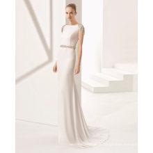 Cristal de volta cap manga cinto sereia vestido de noiva nupcial