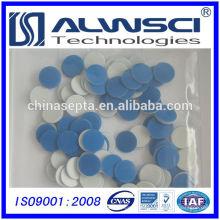 Fabricación de 18 mm de PTFE azul (teflón) / blanco septa de silicona para viales de muestra