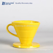 Yellow Painting Pretty Design Common Used Fine Ceramic Drain Cup