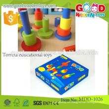 Descuento promocional juguete de madera torreta juguetes educativos juguetes de enseñanza preescolar para niños MDD-1026