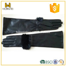 elbow length real sheepskin customized winter ladies dress long leather gloves