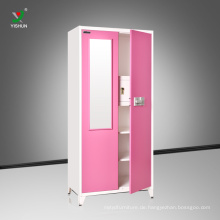 Schlafzimmer Stahl zwei Tür Spiegel Kleiderschrank Design billige Möbel Kleiderschrank Schlafzimmer