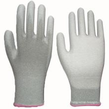 Weiß PU Coated Handschuh Nylon Liner Knit Handgelenk