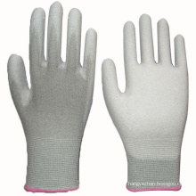 White PU Coated Glove Nylon Liner Knit Wrist