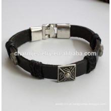 Pulseira de couro popular pulseira de cor fresca pulseira de metal botão PSL029