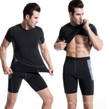 Männer Sport T-Shirt Elastischer Sweat Fitness Kurzarm Kleidung
