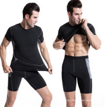 Men Sports T-Shirt Elastic Sweat Fitness Short-Sleeve Clothing