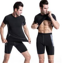 T-shirt dos esportes dos homens Elastic Sweat Fitness Short-Sleeve Clothing