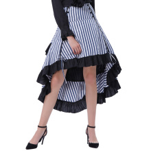 Belle Poque Striped Gathered Steampunk Vintage Gothic Style High-Low Skirt BP000345-1
