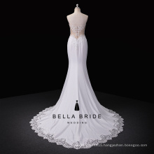 Custom made high quality satin fabric embroidered wedding dress with sequins and lace