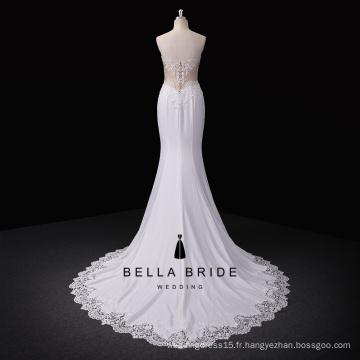 Robe de mariée brodée sur mesure en satin de haute qualité avec paillettes et dentelles