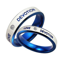 Blue Wedding Engagement Korean Couples Stainless Steel Jewelry Wholesale Crystal Couple Ring