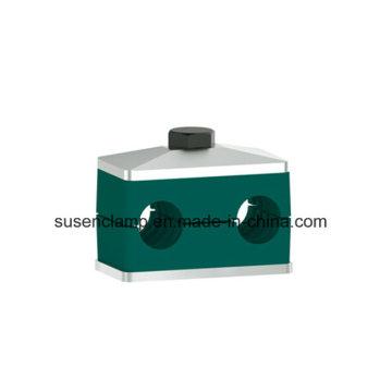 Doble / doble abrazadera de plástico para tubería / cable