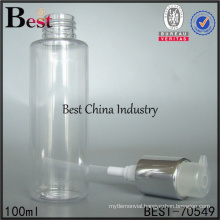 50ml 100ml 200ml clear cosmetic pump bottle, clean plastic bottle with aluminum lotion pump