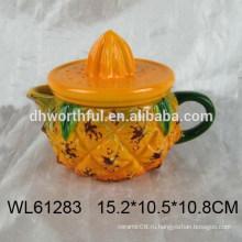 Керамическая чашка из желтого ананаса с крышкой